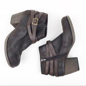 Crown Vintage Ankle Booties Side Zip Strap Leather